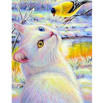 Cat Gazing Bird - Diamond Painting Kit