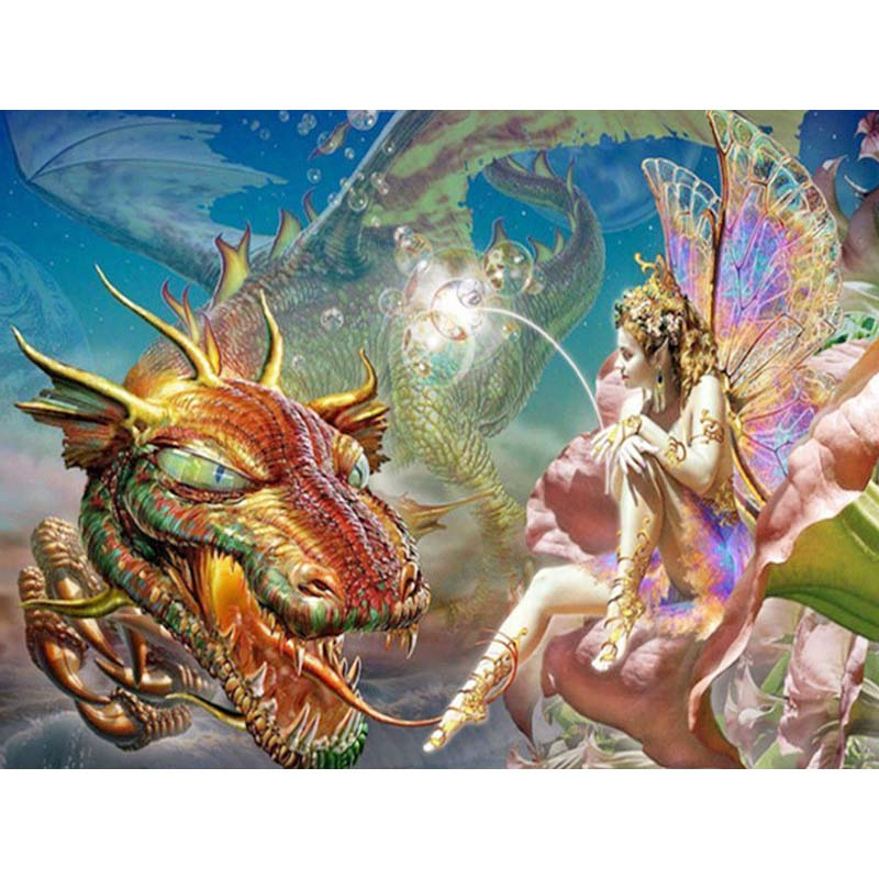 Dragon & Fairy - Diamond Painting Kit