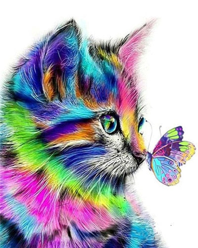 Rainbow Cat Butterfly - Paint By Number Kit