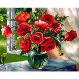 Red Splendor In Vase - Paint By Number Kit