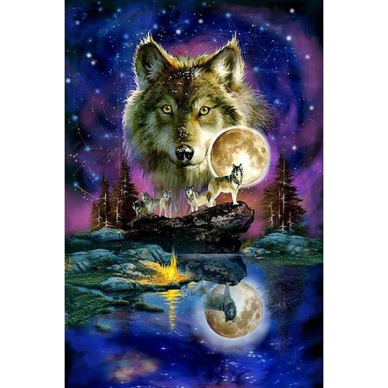Wolf On Rocks - Diamond Painting Kit