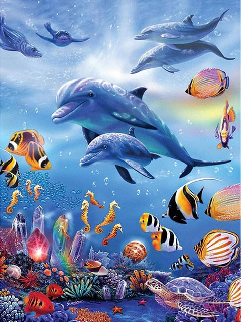 Underwater Dolphin - Diamond Painting Kit