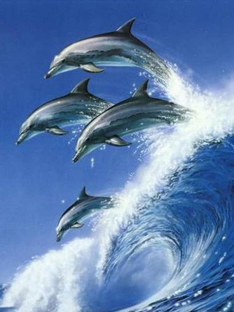 Wave Jumping Dolphins - Diamond Painting Kit