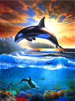 Sunrise Dolphin - Diamond Painting Kit