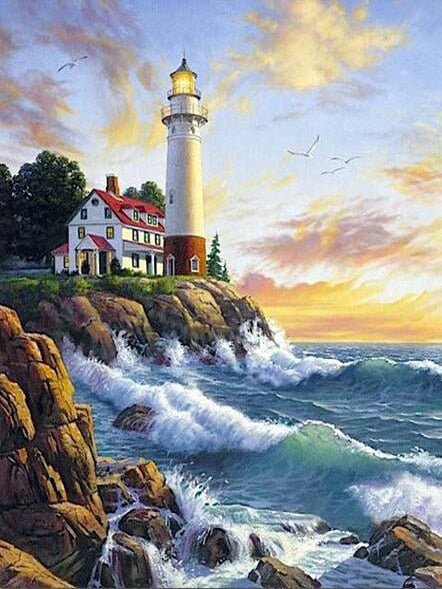 Waves Lighthouse- Diamond Painting Kit