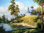 Church On Hills - Diamond Painting Kit