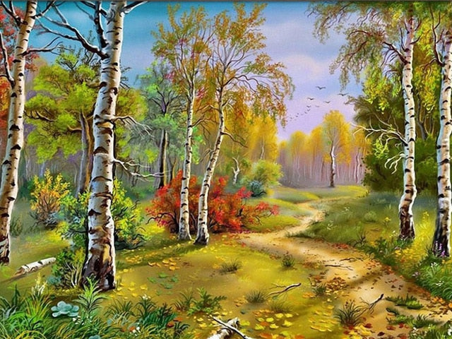 Path In The Woods - Diamond Painting Kit