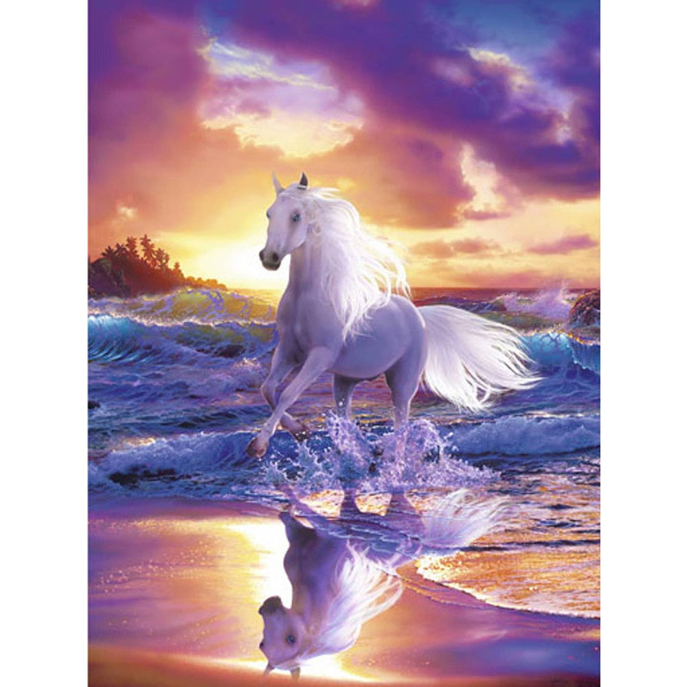 Running White Horse - Diamond Painting Kit