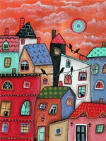 Abstract Red House - Diamond Painting Kit