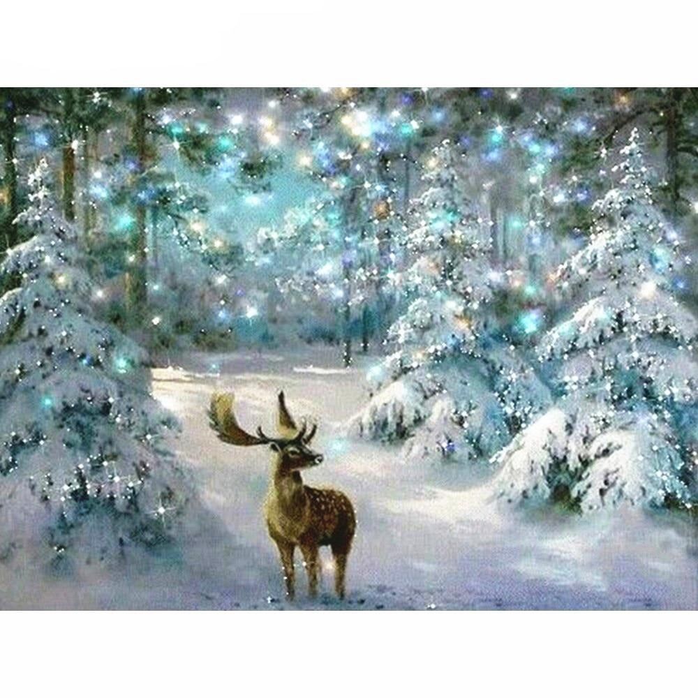 Deer On Snowlane - Diamond Painting Kit