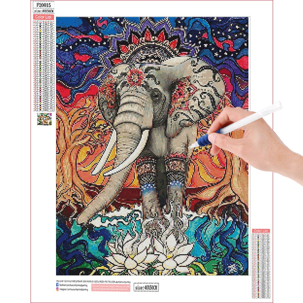 Embroidered Elephant - Diamond Painting Kit
