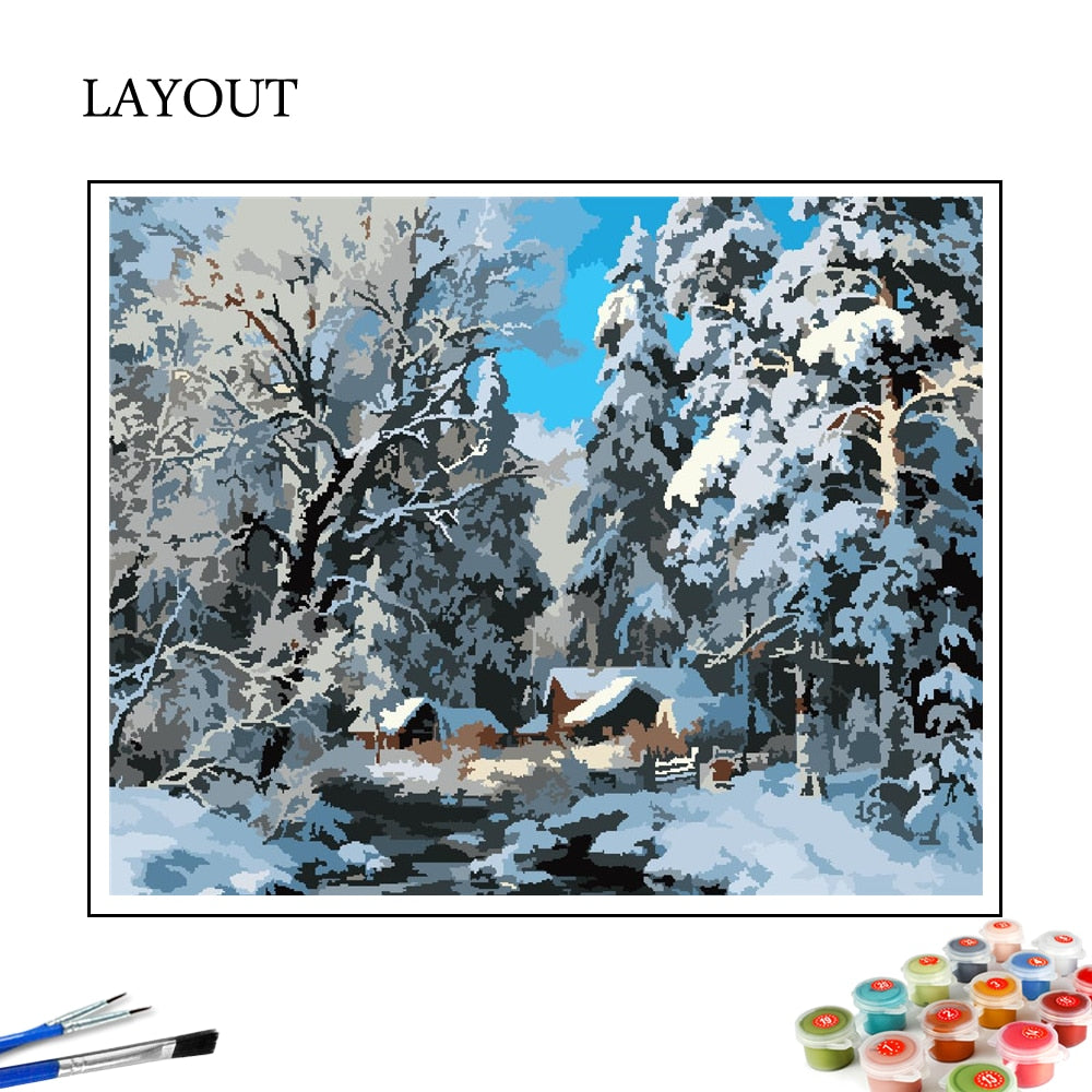 Snowy Woods - Paint By Number Kit