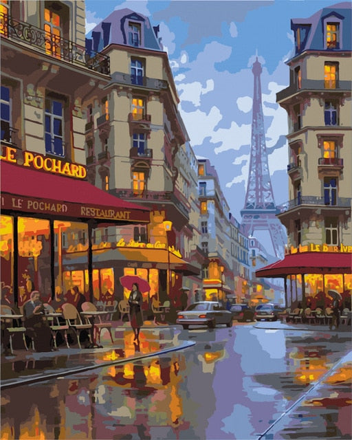 Eiffel Tower Lane View - Paint By Number Kit