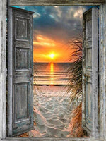 Sunset Through Open Door - Diamond Painting Kit