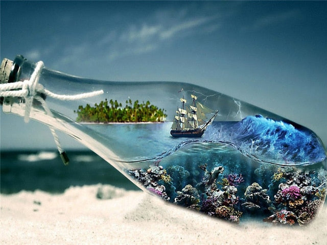 Ship Undersea In The Bottle - Diamond Painting Kit