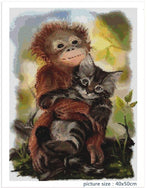 Monkey Cat Friend - Diamond Painting Kit