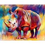 Colorful Rhino - Paint By Number Kit
