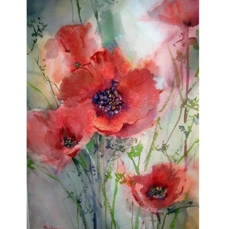 Red Flower - Diamond Painting Kit