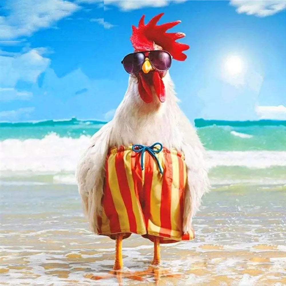 Beach Chicken - Diamond Painting Kit