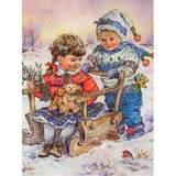 Children On Sledge - Diamond Painting Kit