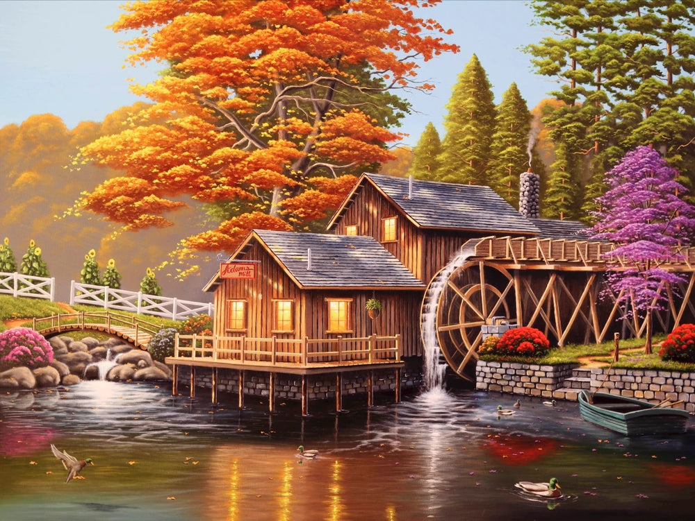 Forest Cottage Mill - Diamond Painting Kit