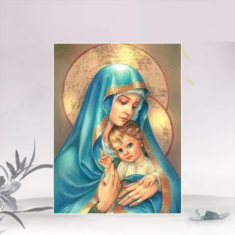 Mother Mary & Jesus Diamond Painting Kit , Religious Diamond Painting Kit