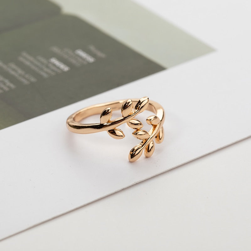 Olive Tree Branch Leaves Ring