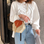 Marine Leather Straw Rattan Boho Crossbody Bag