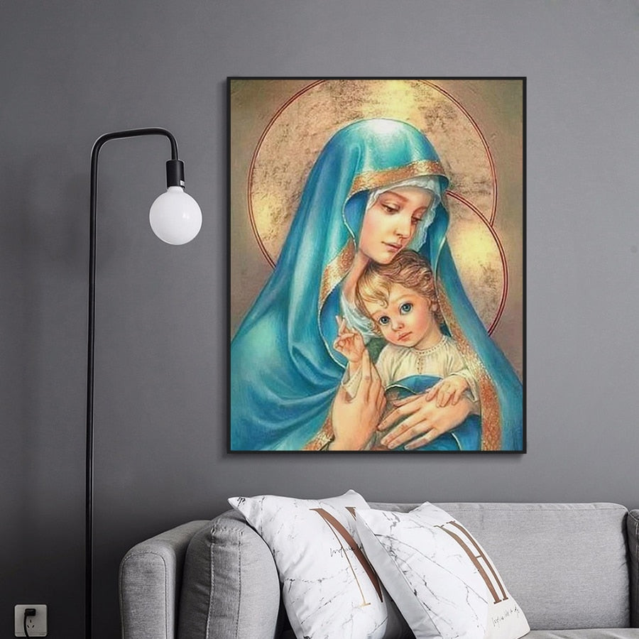 Mother Mary & Jesus - Diamond Painting Kit