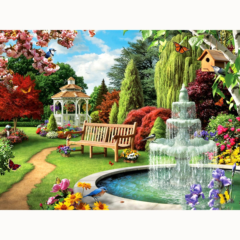 Fountain Garden - Diamond Painting Kit