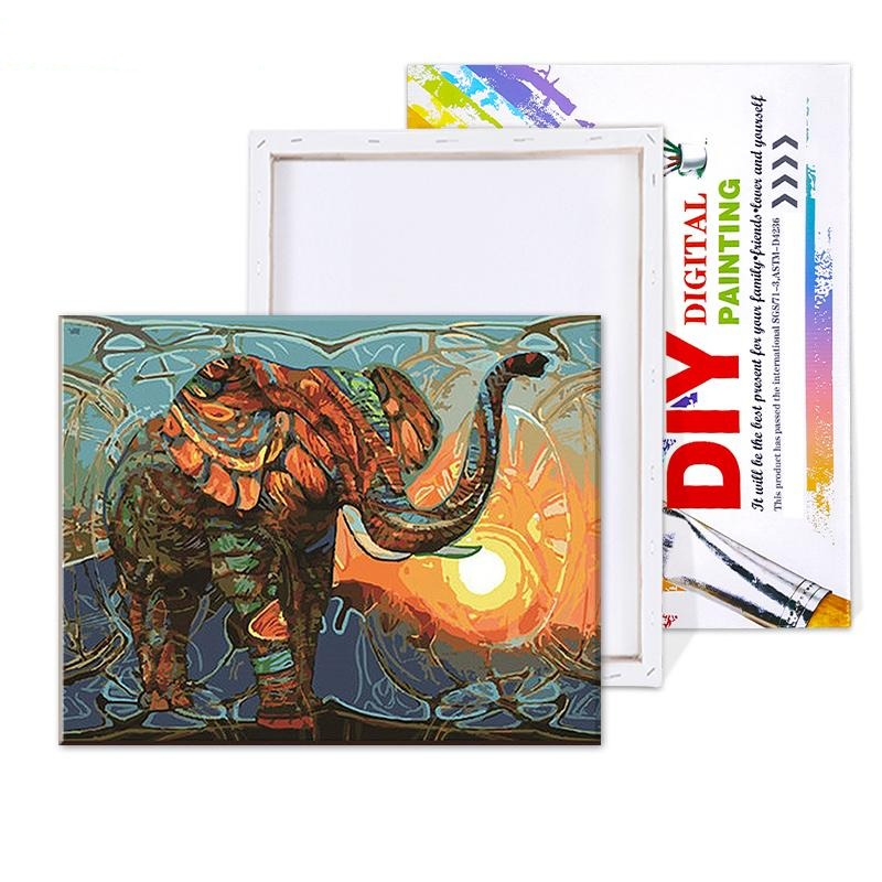 Retro Elephant - Paint By Number Kit