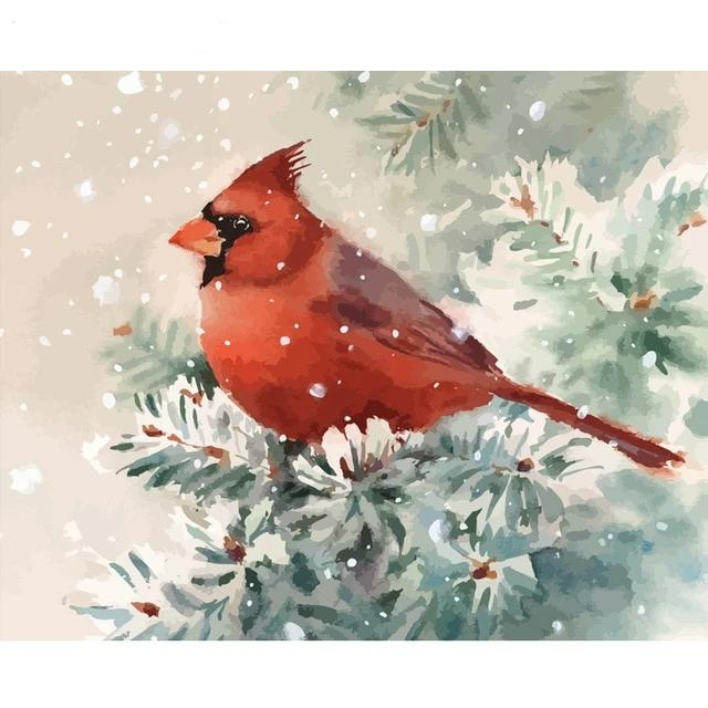 Bird In Snowfall - Paint By Number Kit