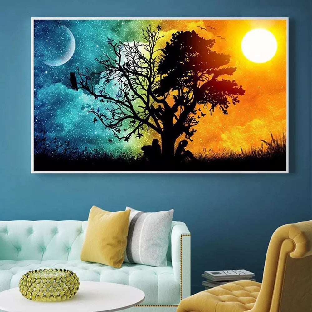 Day Night Tree Shadow - Diamond Painting Kit