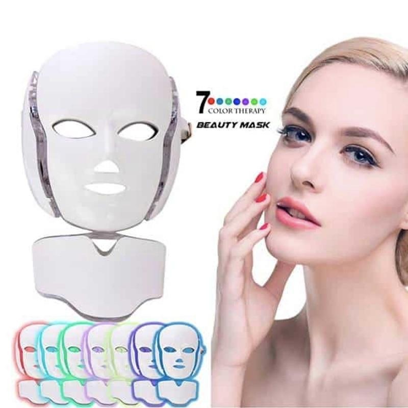 7 Colors LED Light Face Neck Therapy Mask