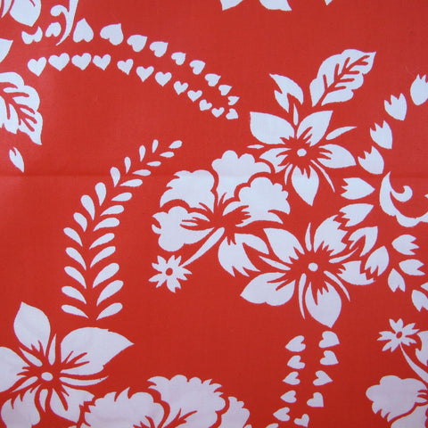 1950s Aloah Hibiscus on Red Vintage Cotton Fabric