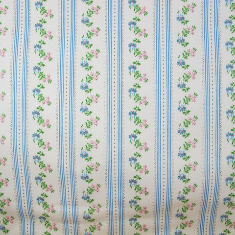 1910s Edwardian Stripe Floral Sateen Cotton A Piece of Cloth Vintage Fabrics