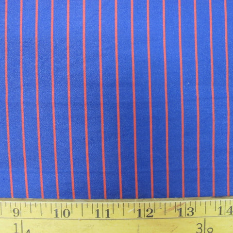 1950s Blue and Red Cotton Crepe Sateen Stripe