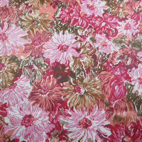1950s Cotton Chintz Floral in Pink