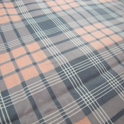 1950s Cotton Graphic Print Check in Pink and Grey
