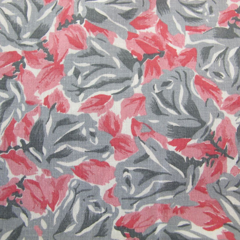 1950s Pink and Grey Roses Cotton