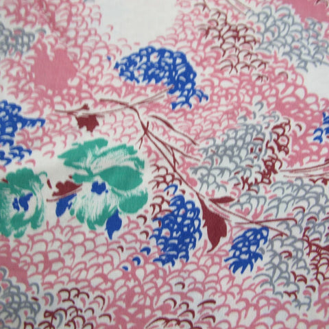 1930s Rayon Day Dress Floral in Pink 2.25 mt / 2.5 Yards