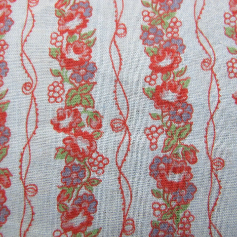 1940s Overprint Floral on Blue Vintage Cotton Fabric