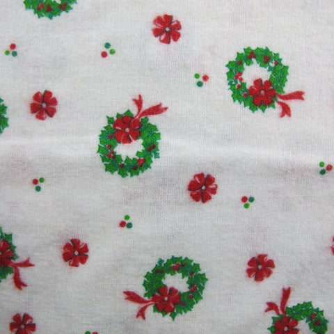 1960s Holly Wreath Novelty Flannel Cotton Remnant