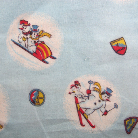 1950s Snowmen Novelty Flannel Cotton Remnant