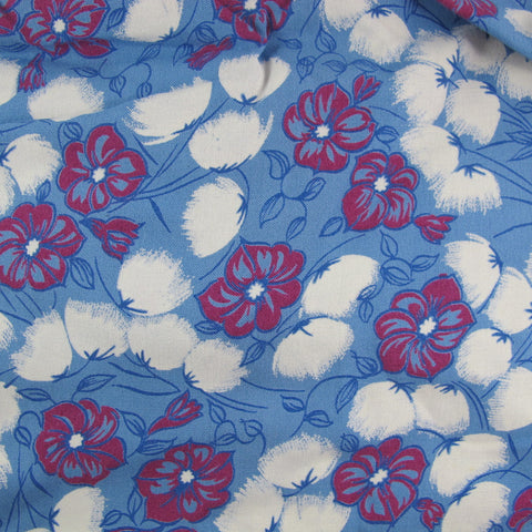 1920s Cotton Rayon Floral in Blue