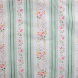Edwardian Era Floral Stripe Cotton Ticking in Green