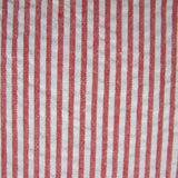 1960s Red and White Stripe Cotton Seersucker Remnant