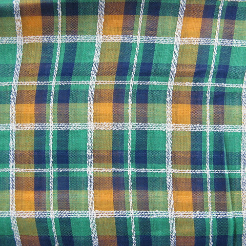 1950s Green Fancy Weave Check Lawn