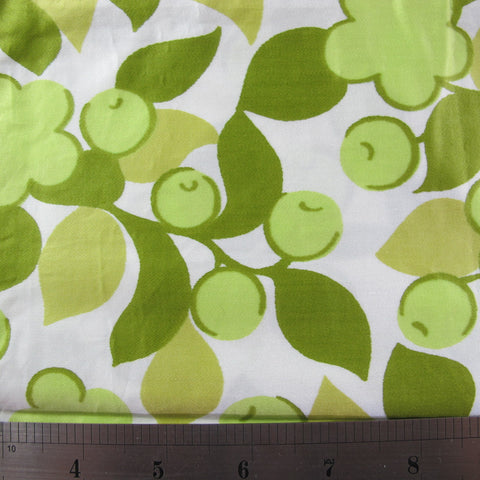 1960s Lime Green Floral Cotton Sateen
