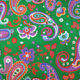 1960s Uber Bright Paisley in Green Fine Cotton Linen